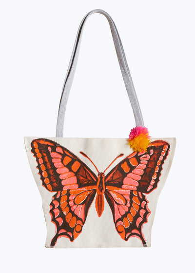 Orange Butterfly Canvas Bag