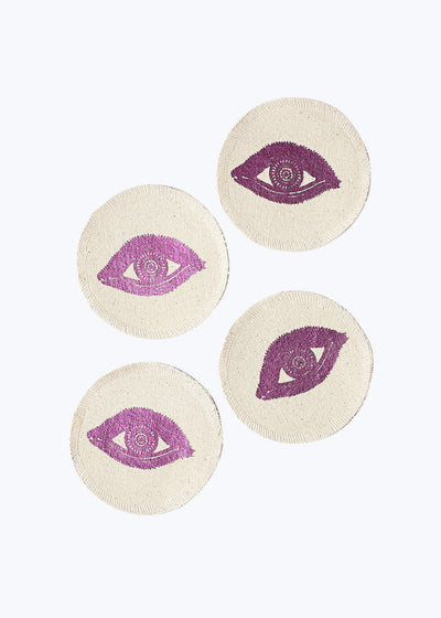 Pink Foil Eyes Coaster Set of 4