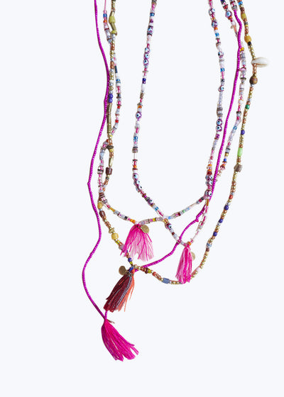 Multi Pink Mixed Bead Tassel Necklace