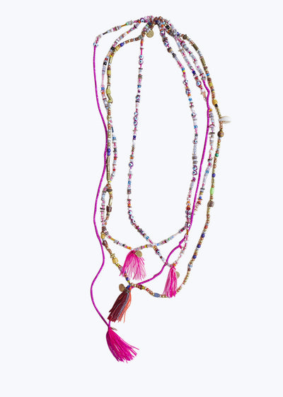 Pink Mixed Bead Tassel Necklace
