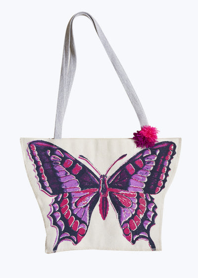 Purple Butterfly Canvas Bag