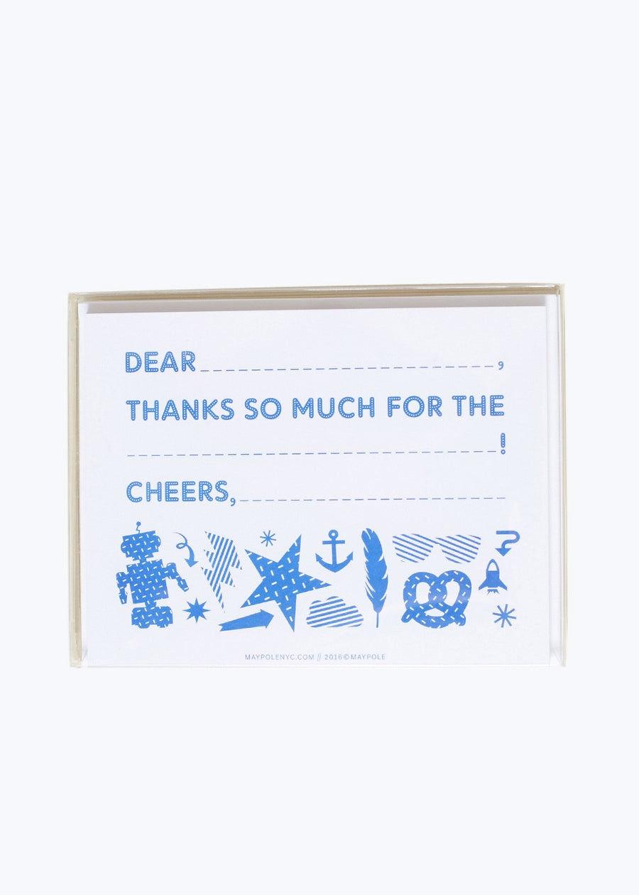 Bright Blue Thank You Cards