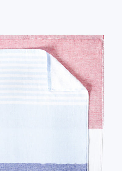 Red/White/Blue Tricolor Chambray Hand Towel