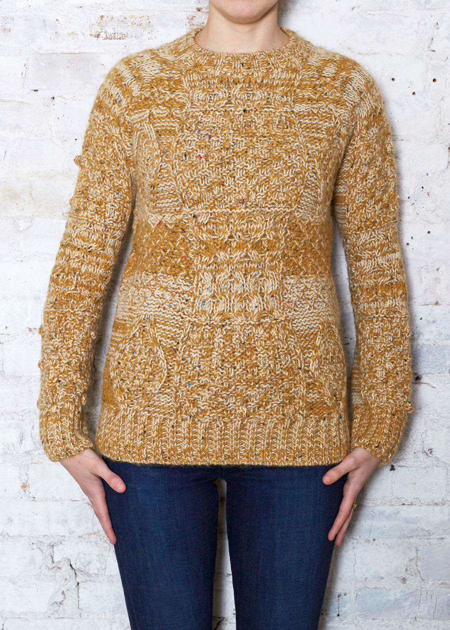 Mustard/Ecru Cable Sweater