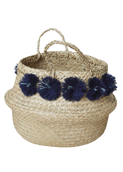 Navy Venice Pompom Basket-Large