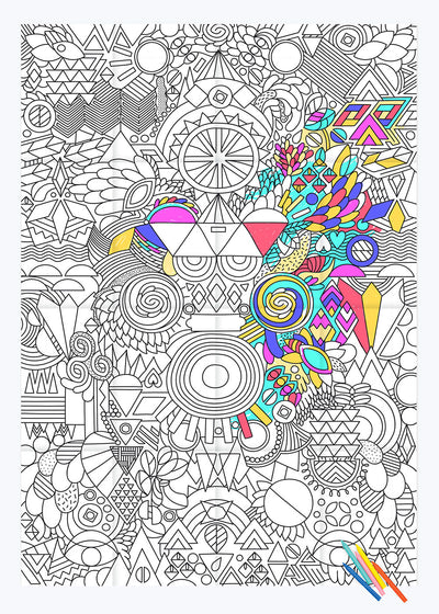 Patchwork Coloring Poster