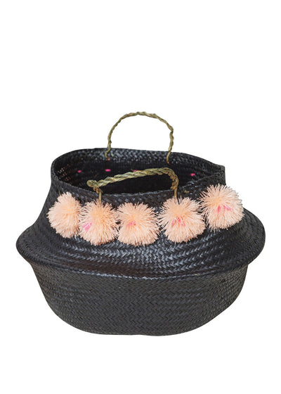 Black/Peach Venice Pompom Basket