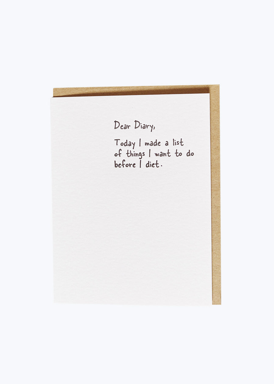 Dear Diary - Diet Card