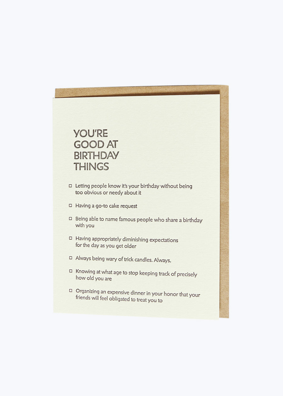 Good At Things - Birthday Card