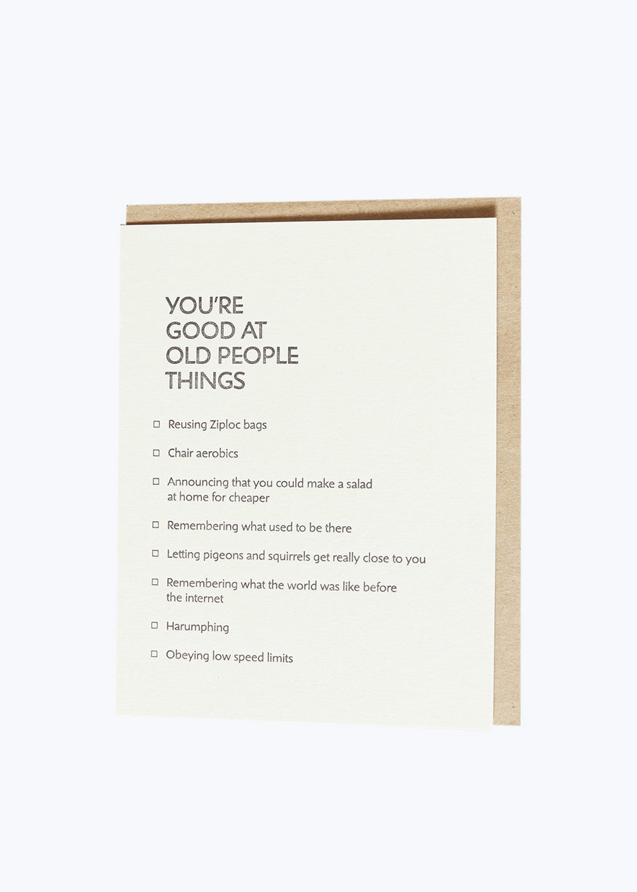 Good At Things - Old People Things Card