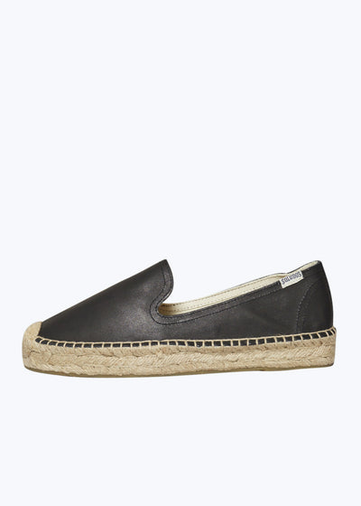 Black Leather Platform Smoking Slipper