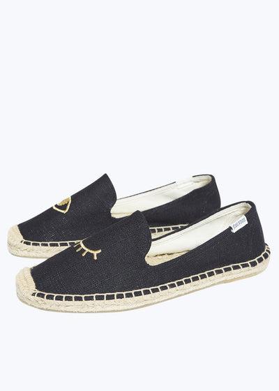 Black w/ Gold Wink Embroidered Slipper