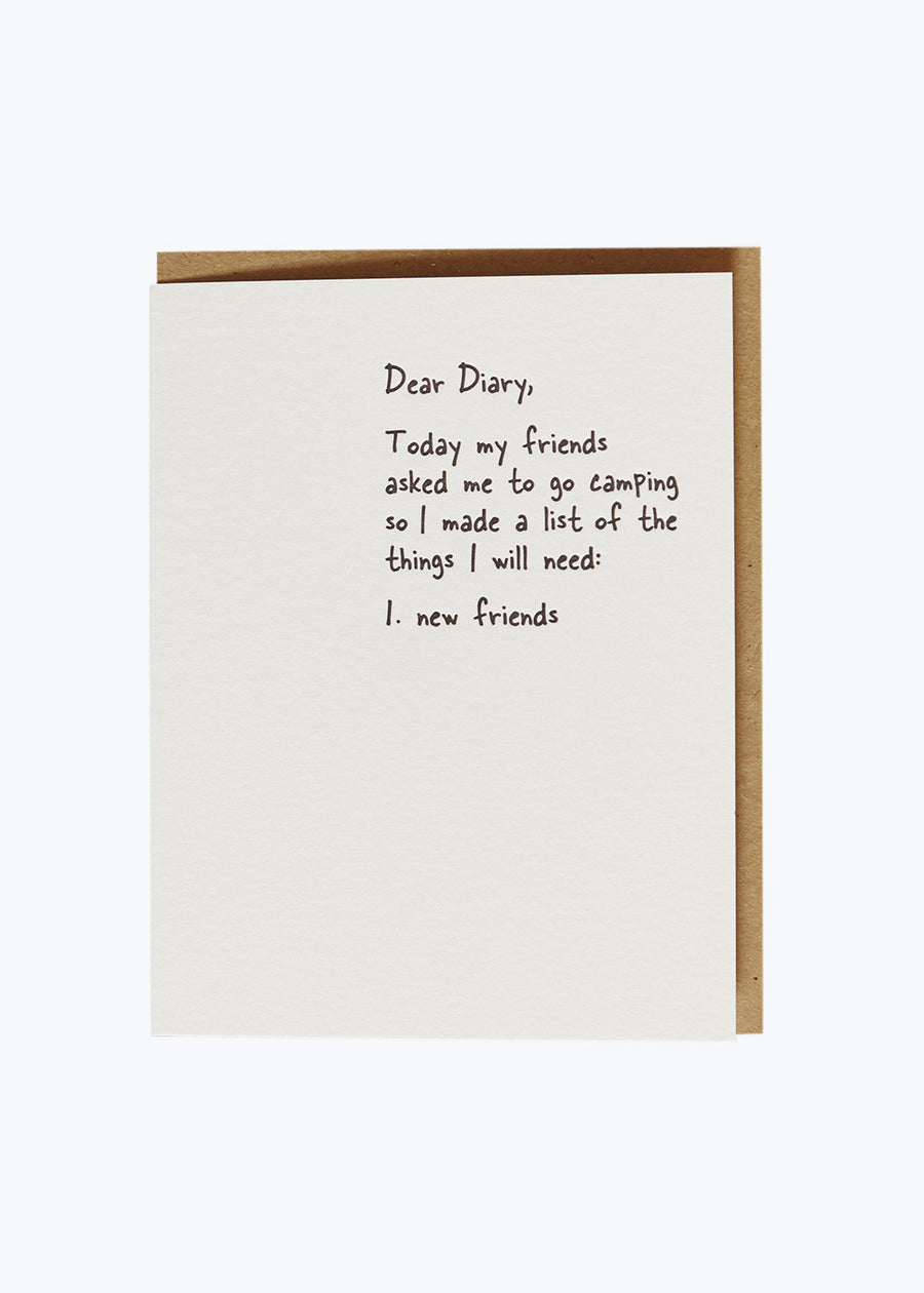 Dear Diary - New Friends Card