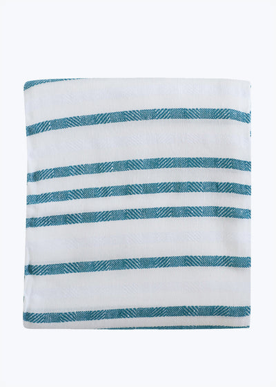 Teal Stripe Beach Blanket
