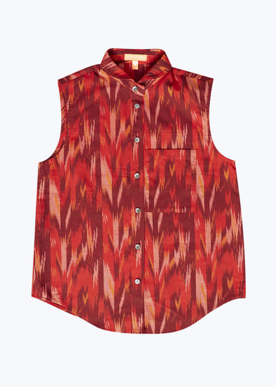 Red Ikat S/L Button Down Shirt-XS