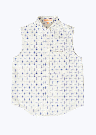 Ivory/Blue Crosshatch S/L Button Down Shirt-S
