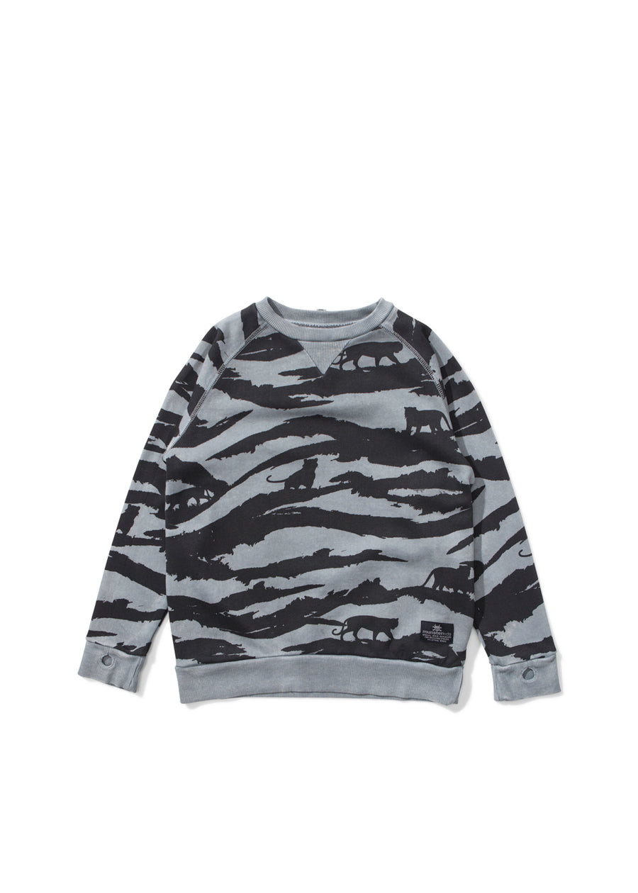 Kids Washed Black Tiger Camo Sweatshirt