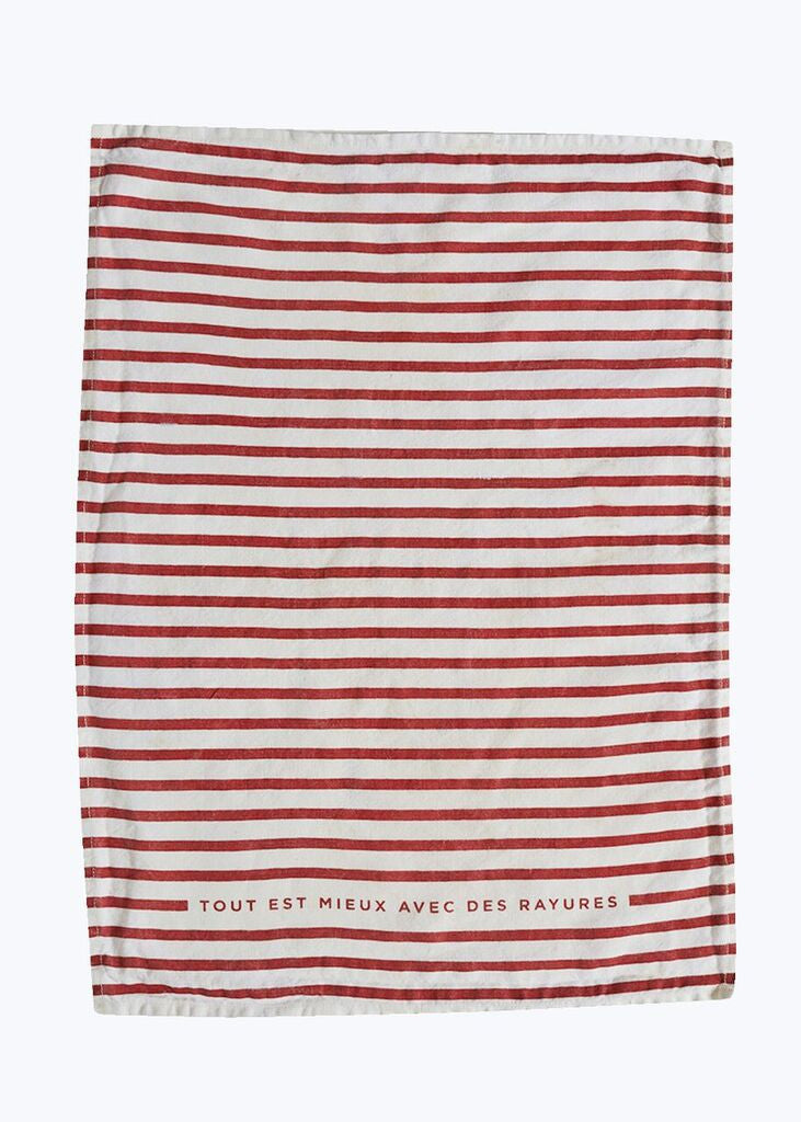 Red Striped Linen Tea Towel