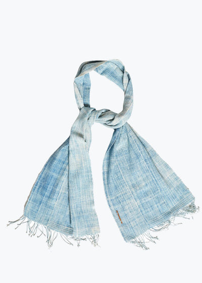 Light Blue 3 Panel Fringe Scarf-Medium
