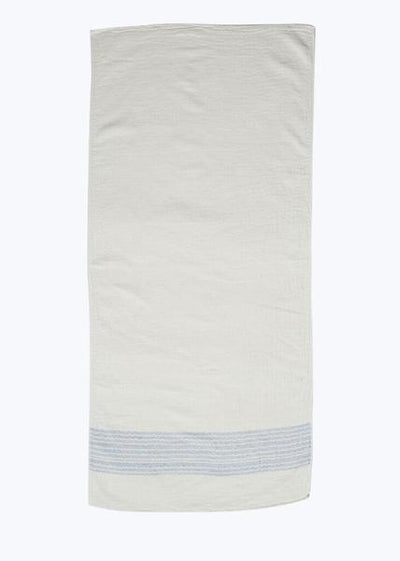 Blue/Ivory Organic Cotton Bath Towel