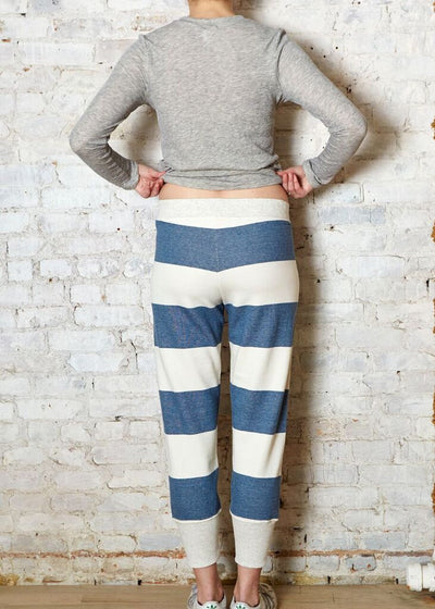 Blue/White Wide Stripe Sweatpant-Large