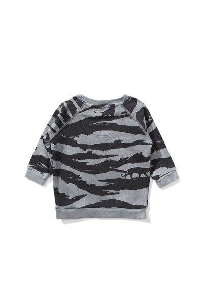 Baby Washed Black Yiour Stripes Sweatshirt