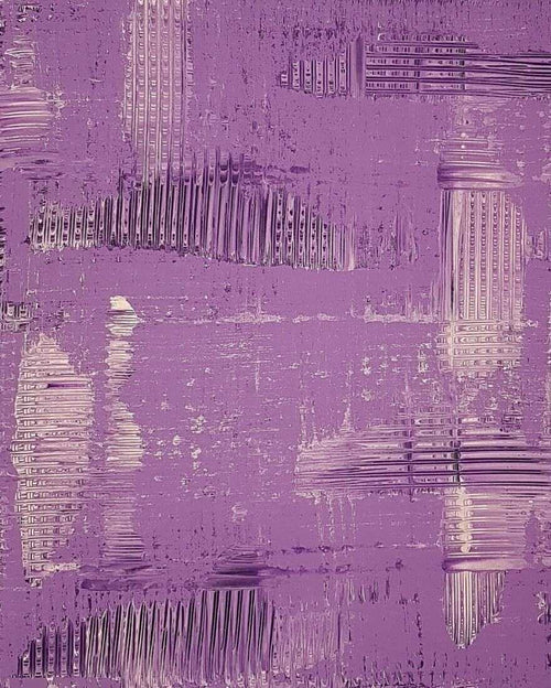 Purple crossroad art, train tracks, abstract art, original art
