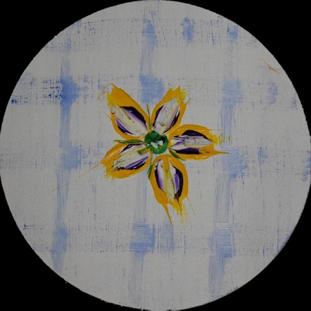 Bright flower art on a round canvas with a cross tracks background in white and blue, original painting