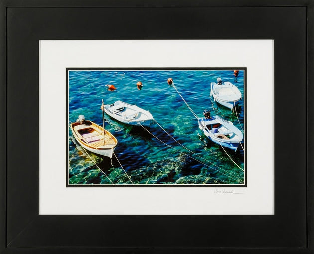 Boats anchored in clear blue waters, photograph art, photograph of boats