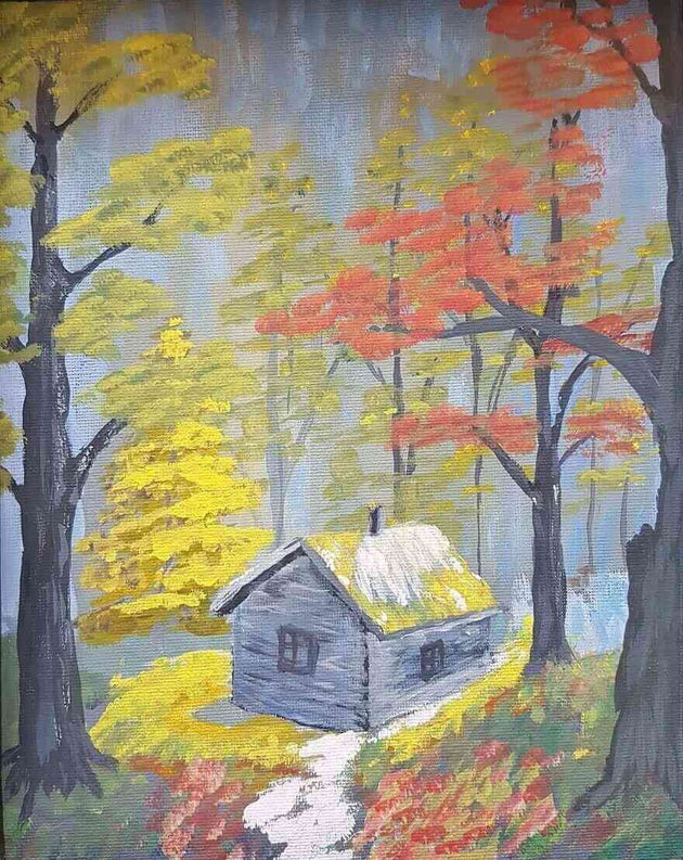 Cozy cabin nestled in the woods and surrounded by autumn foliage, country art, cabin art