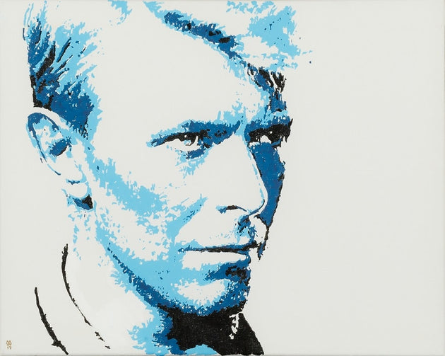 An original painting of the late David Bowie, blue david, famous portrait, singer, songwriter