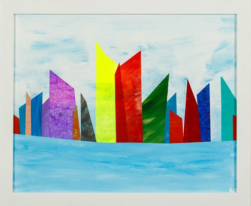 A brightly colored modern city on the harbor, modern architecture, cityscape, original on canvas, bright lights