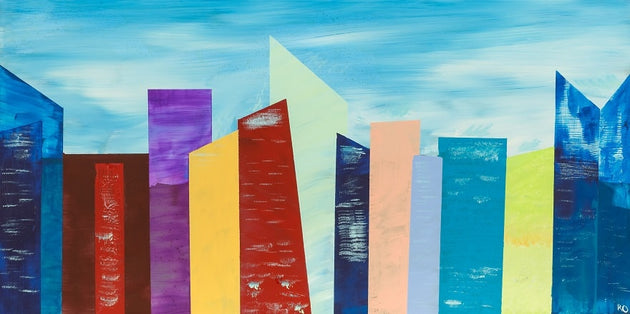 A futuristic colorful city bursting with sky scrapers, original on metal, calgary artist