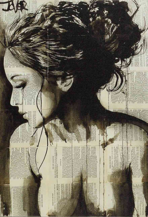 A ravishing woman drawn onto the pages of a book, print on canvas, beautiful profile
