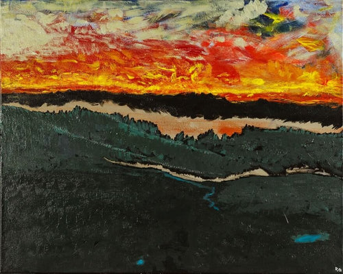 Burning sunset that lights the sky aglow above a mountainous valley filled with lakes and streams, original painting of glowing skies, calgary artist
