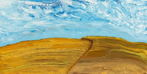 A beautiful day on the prairies admiring the harvest, local art, calgary artist, acrylic on metal
