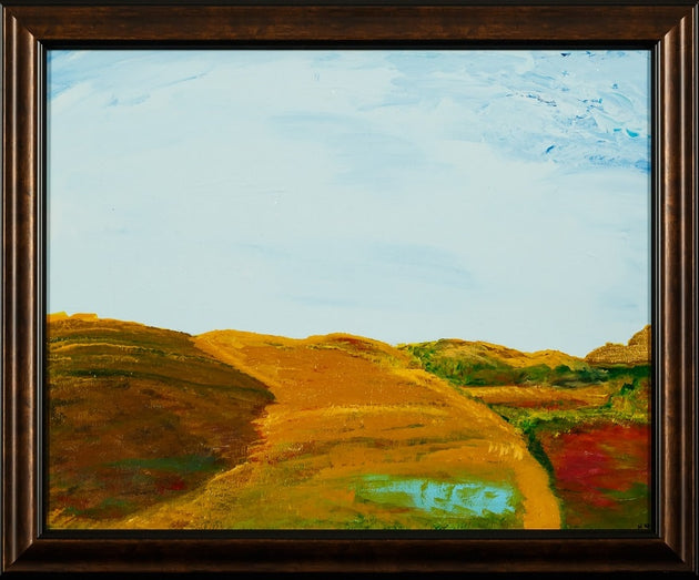 A picturesque fall day on the countryside, alberta fields, golden meadows, local calgary artist