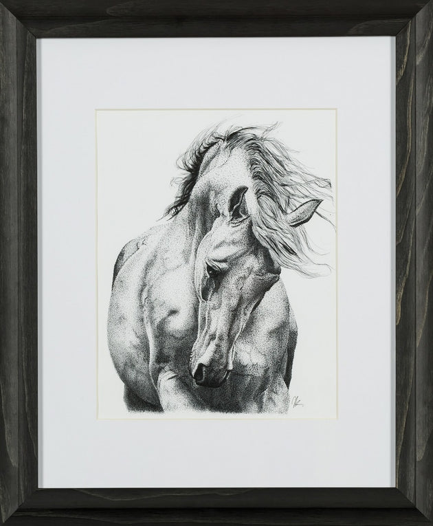 Strength and beauty is that of a horse, framed print, stippling, stallion art