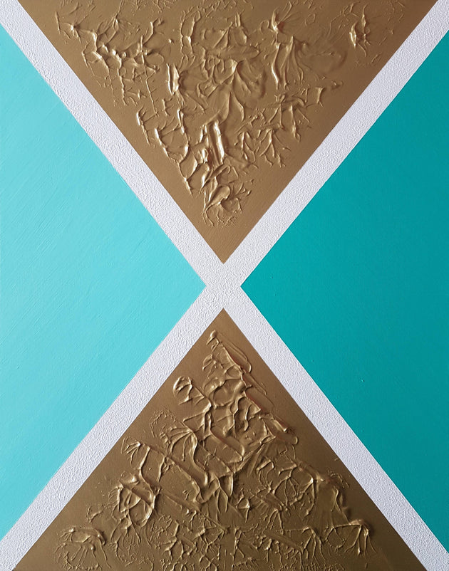 Hourglass art, teal and gold, original painting