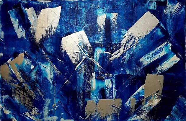Ice breaker, blue and silver shimmer art, original painting