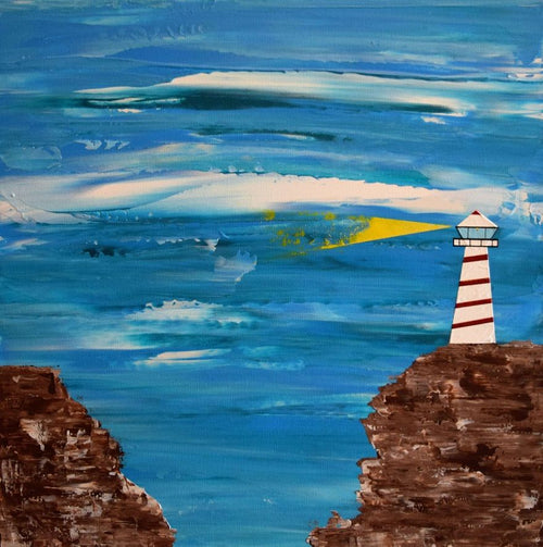 A beacon of light and hope shining out from the lighthouse atop the cliffside, original painting, lighthouse art