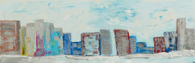 A silver city situated on the edge of icy waters, original painting, metropolis, local art