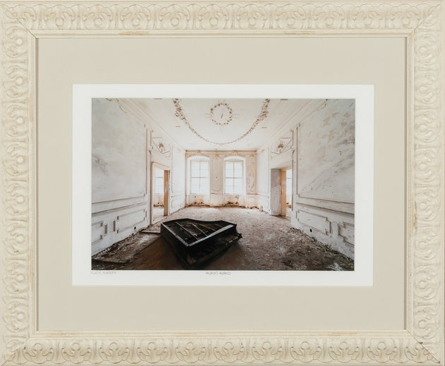 An abadoned piano in a deserted room, limited edition, architecture, vintage art