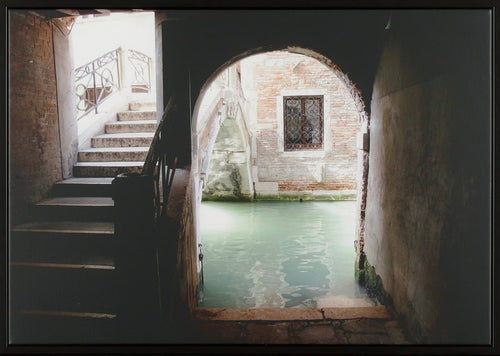 An obscure passage that leads to a stairway to Venice and a canal where dreams take sail, limited edition photograph, local artist, canal art