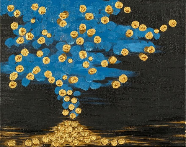 A vision of pennies falling down from stormy skies, original painting, local artist