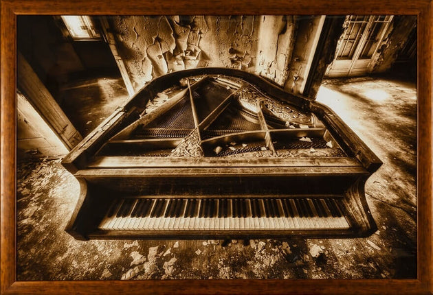 A grandiose piano forsaken in a room deteriorating from all sides, framed print