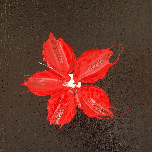 Glossy red flower on a textured black background, original art, local art
