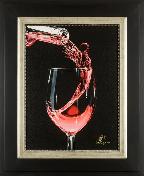 A glass of Rose with a beautiful emerging angel, wine art, limited edition giclee on canvas