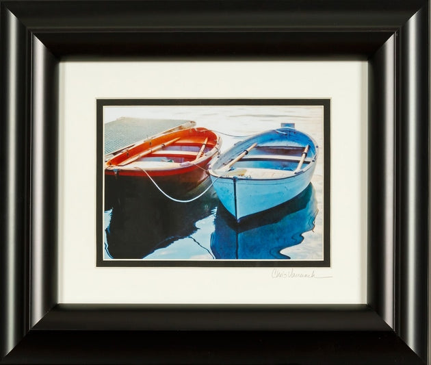 In the stillness of the water lay two boats in their reflections, docked boats, framed photograph, lake photos, summer stillness