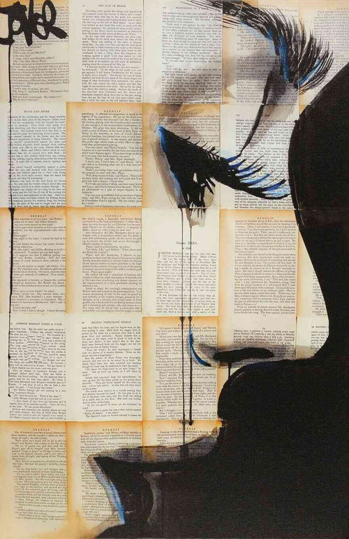 A captivating profile set on pages of a novel, print on canvas